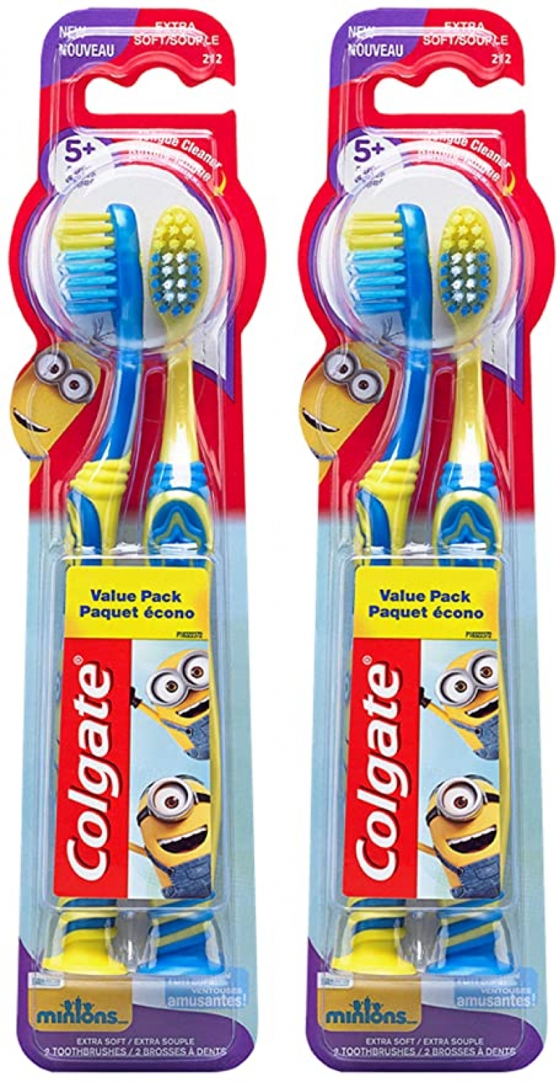 ihocon: Colgate Kids Toothbrush with Extra Soft Bristles and Suction Cup Holder, Minions - 4 Count  兒童牙刷