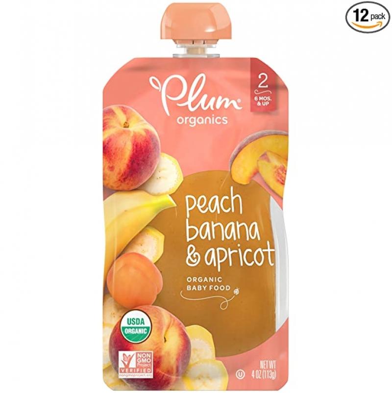 ihocon: Plum Organics Stage 2, Organic Baby Food, Peach, Banana and Apricot, 4 Ounce Pouches (Pack of 12) 有機 嬰兒第2階段食品 - 水果泥