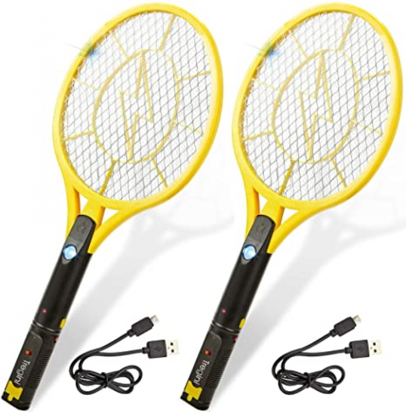 ihocon: Tregini Large Electric Fly Swatter 2 Pack – Rechargeable 充電式電蚊/蠅拍 2支