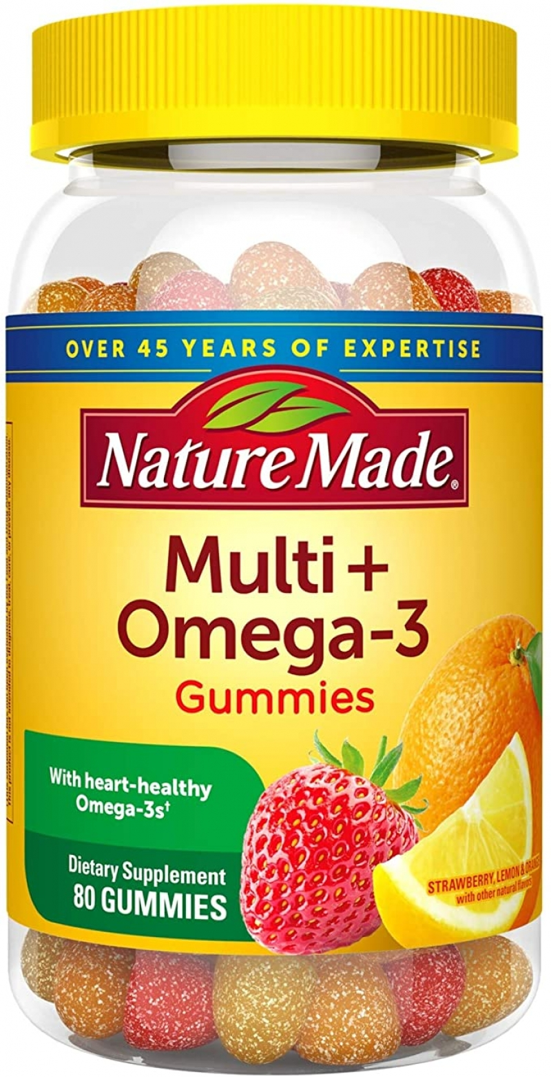 ihocon: Nature Made Multivitamin + Omega-3 Gummies, 80 Count 維他命軟糖