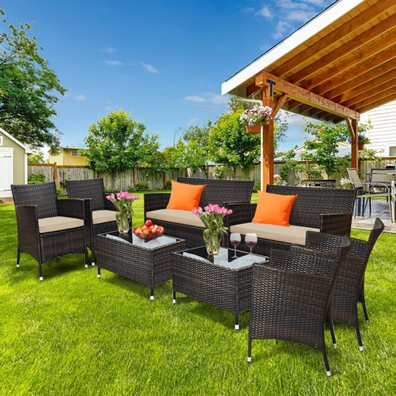 ihocon: Gymax 8-Piece Patio Rattan Outdoor Furniture Set with Cushioned Chair Loveseat Table in Brown  8件式 戶外家具