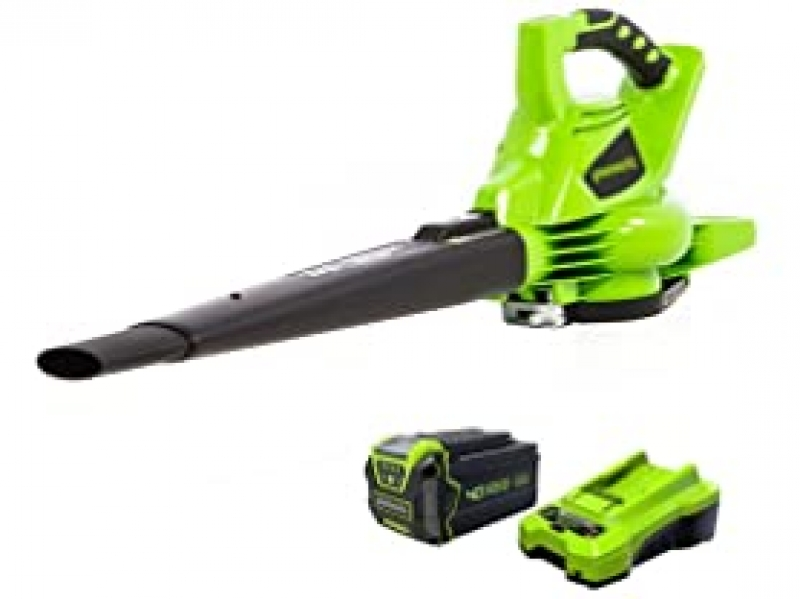 ihocon: GreenWorks 24322 G-MAX 40V 185MPH Variable Speed Cordless Blower/Vac w/ 4Ah Battery & Charger 充電式無線吹葉機, 含電池和充電器