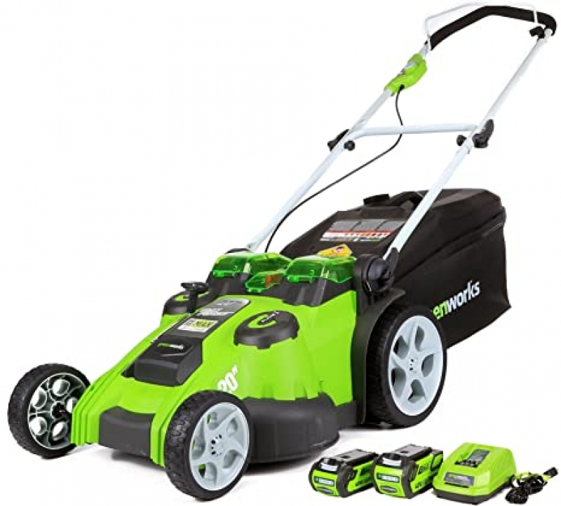 ihocon: Greenworks 40V 20 Inch Cordless Twin Force Lawn Mower, 4Ah & 2Ah Batteries with Charger Included 無線割草機, 含2個電池及充電器