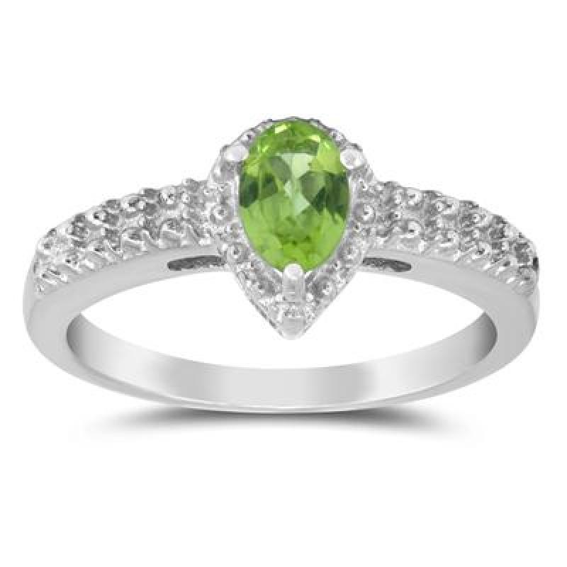 純銀梨形橄欖石戒指 (6x4mm) $19.99(原價$199)