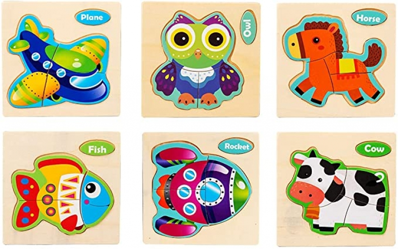 ihocon: TGHJ Wooden Animal Jigsaw Puzzles, 6 Pack 木製動物拼圖 6個