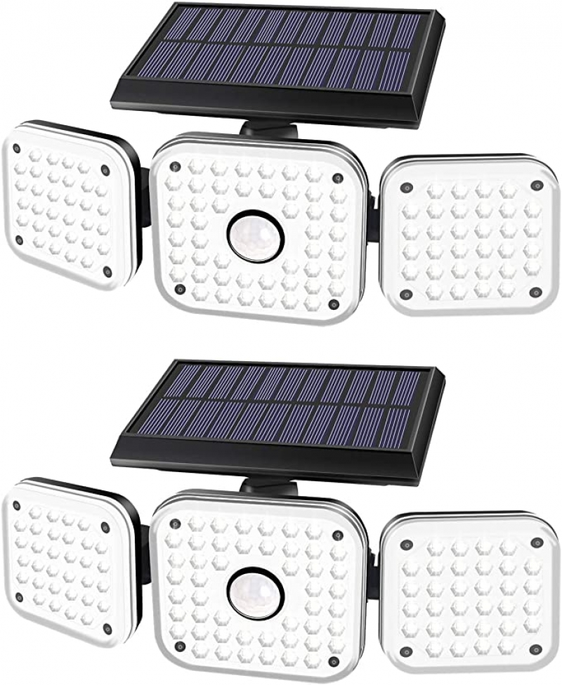 ihocon: Efiealls 3 Heads Wireless Motion Sensor Security Solar Outdoor LED Flood Light(2 Pack) 太陽能LED室外照明燈