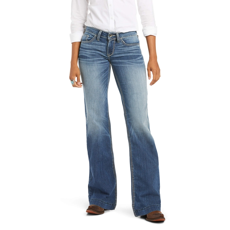 ihocon: Trouser Mid Rise Stretch Baseball Stitch Wide Leg Jean 女士牛仔褲