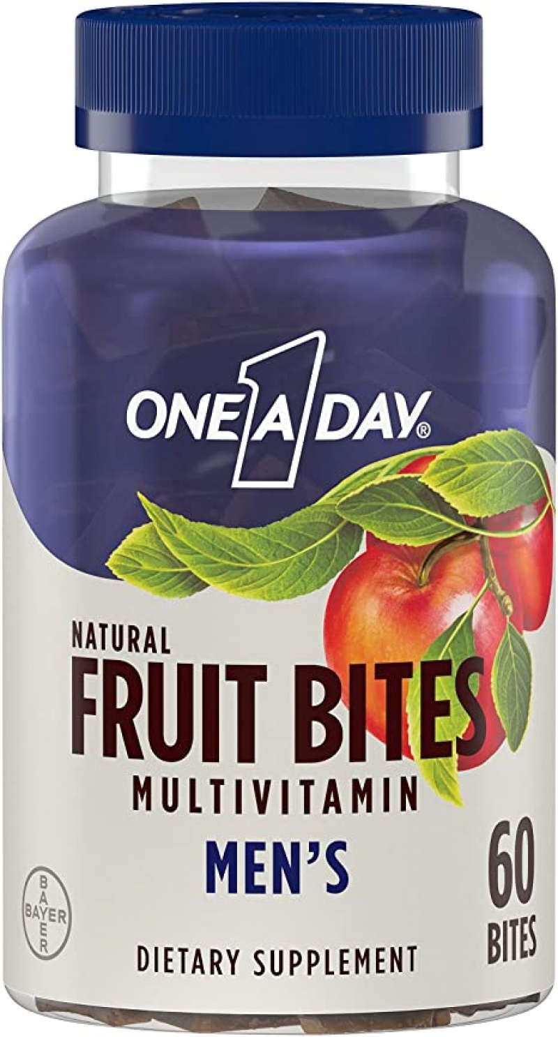 ihocon: One A Day Men's Natural Fruit Bites Multivitamin with Immune Health Support*, 60 Count (1 month supply)男士綜合維他命軟糖
