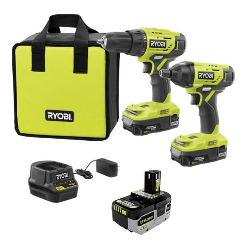ihocon: ONE+ 18V Cordless 2-Tool Combo Kit with (2) Batteries, Charger, Bag and HIGH PERFORMANCE Lithium-Ion 4.0 Ah Battery無線電鑽/電動螺絲起子,電池, 充電器及收納包