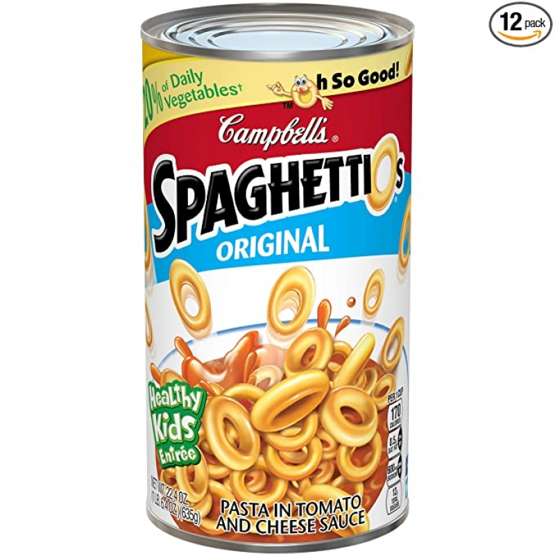 ihocon: Campbell's SpaghettiOs Canned Pasta, Original, 22.4 oz. Can (Pack of 12)  罐裝意大利面
