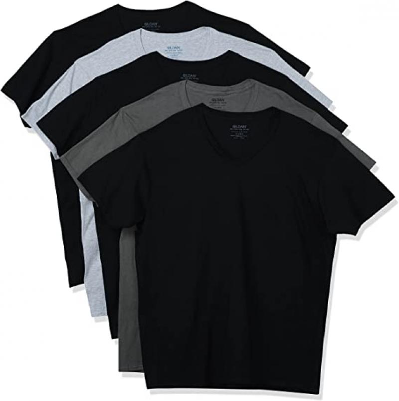 ihocon: Gildan Men's V-Neck T-Shirts, Multipack  男士100% Cotton純棉短袖衫 5件