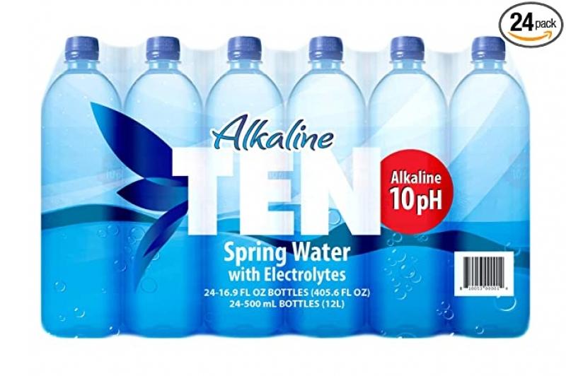 ihocon: TEN Alkaline Spring Water, pH 10, High in Electrolytes, 16.9 Ounce Bottle (Pack of 24) 鹼性礦泉水