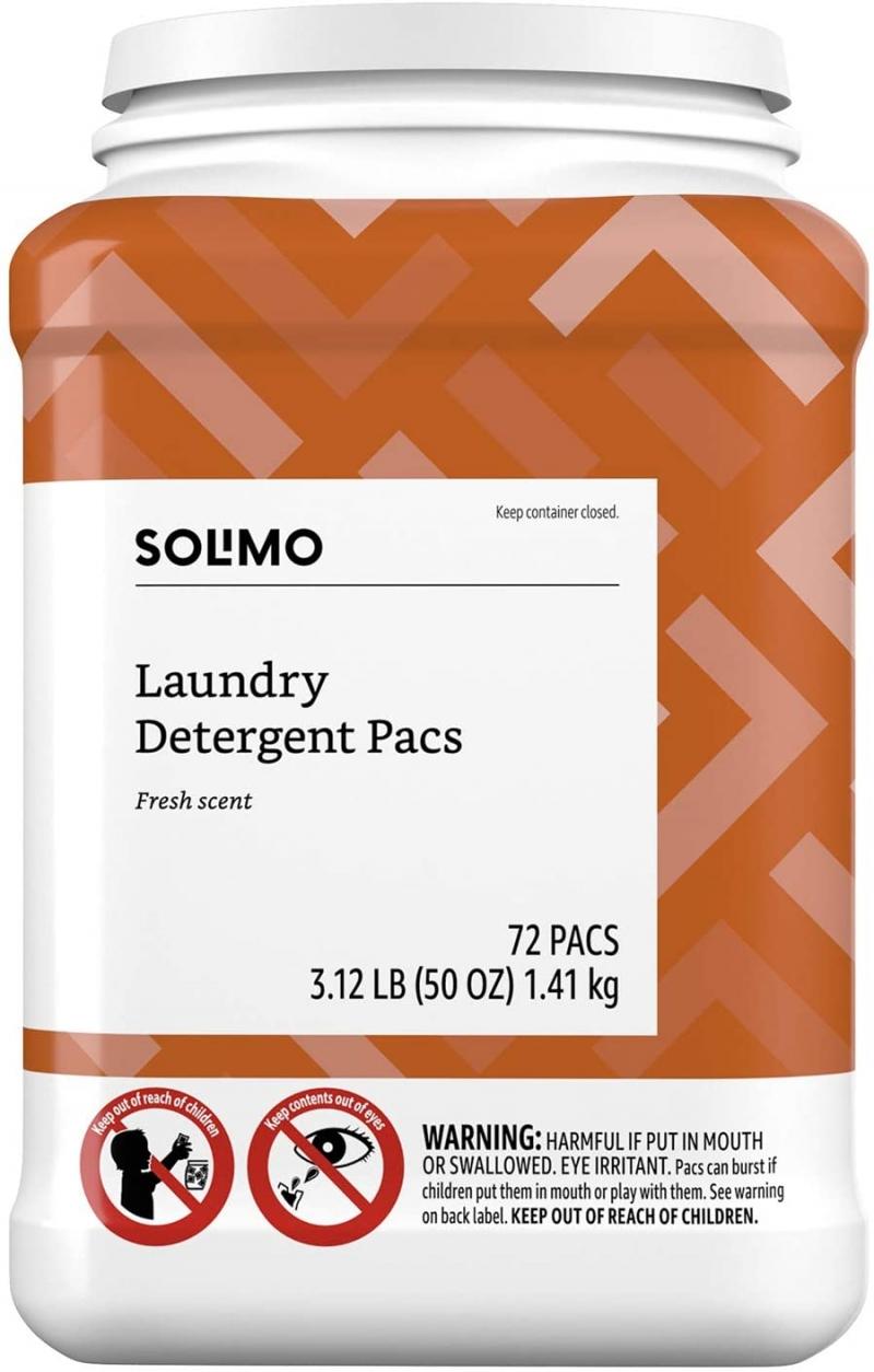 ihocon: [Amazon自家品牌] Solimo Laundry Detergent Pacs, Fresh Scent, 72 Count 洗衣膠囊