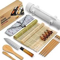 ihocon: ISSEVE Sushi Making Kit, Bamboo Sushi Mat, All In One Sushi Bazooka Maker 壽司製作工具一套