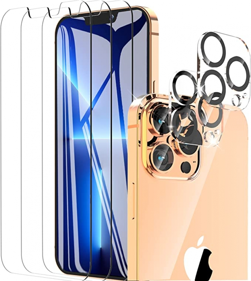 ihocon: WISMAT [3+2 Pack] Screen Protector Compatible with iPhone 13 Pro Max with Camera Lens Protector HD Tempered Glass 屏幕保護膜及相機鏡頭保護膜
