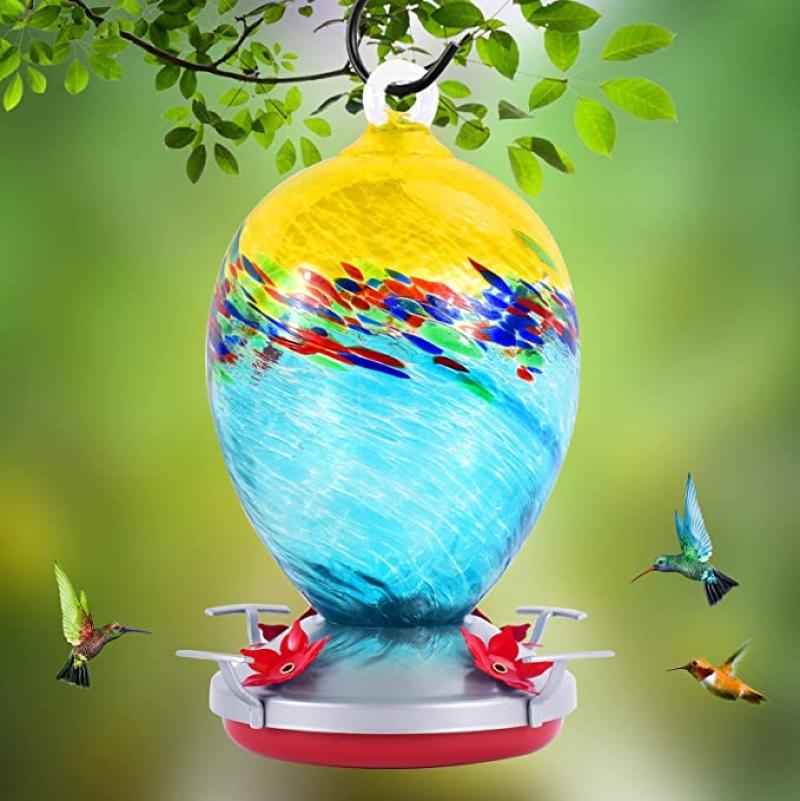 ihocon: K KERNOWO Hand Blown Glass Hummingbird Feeders  手吹玻璃蜂鳥餵食器