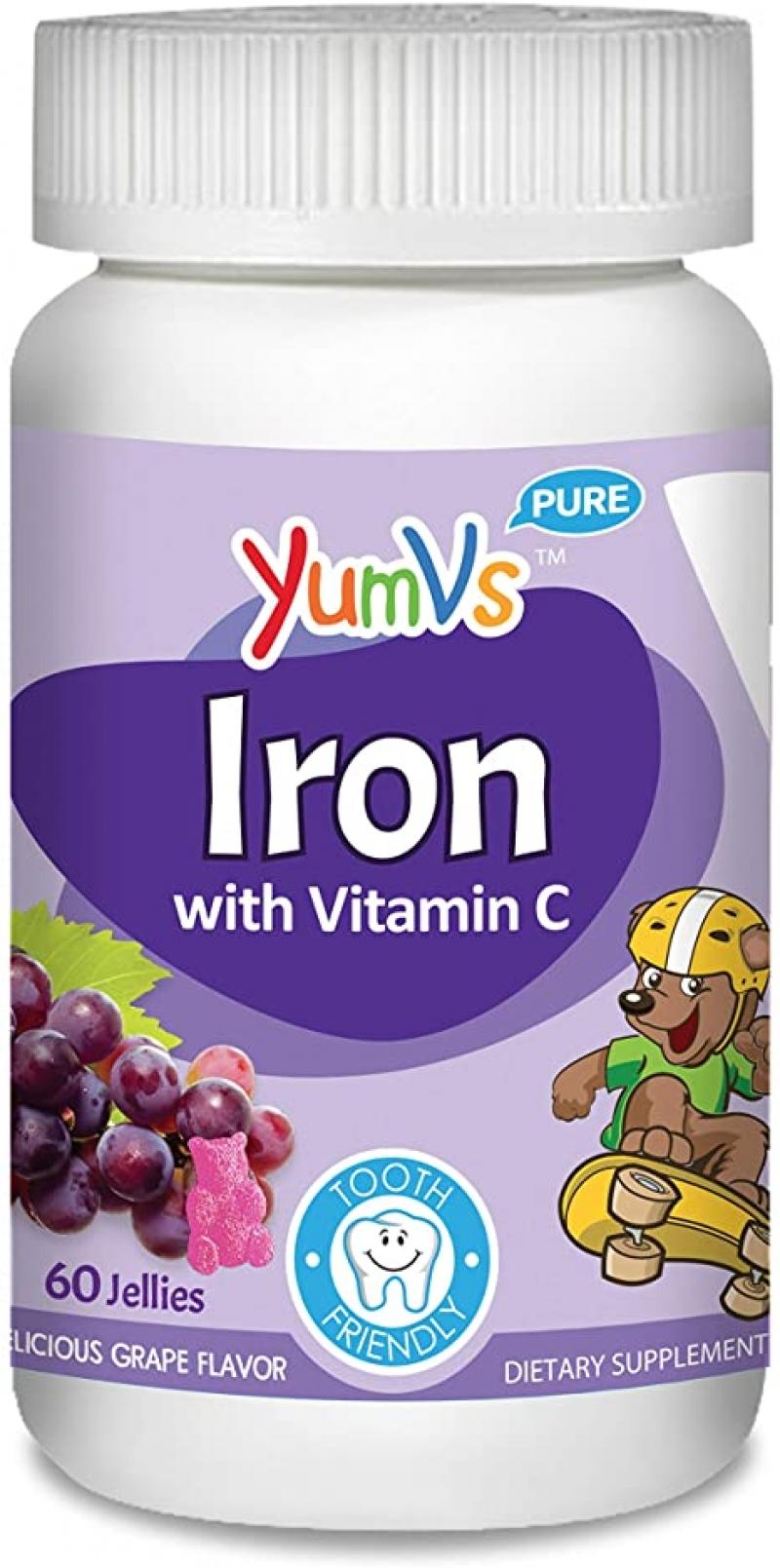 ihocon: YumVs Iron Jellies/Gummy Bears for Kids w/Vitamin C, Grape Flavor(60 Ct)  兒童補鐵軟糖, 含維他命C