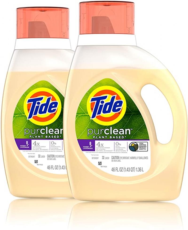 ihocon: Tide Purclean liquid laundry detergent, honey lavender, pack of 2, 46 fl Ounce each, 2 Count  洗衣精