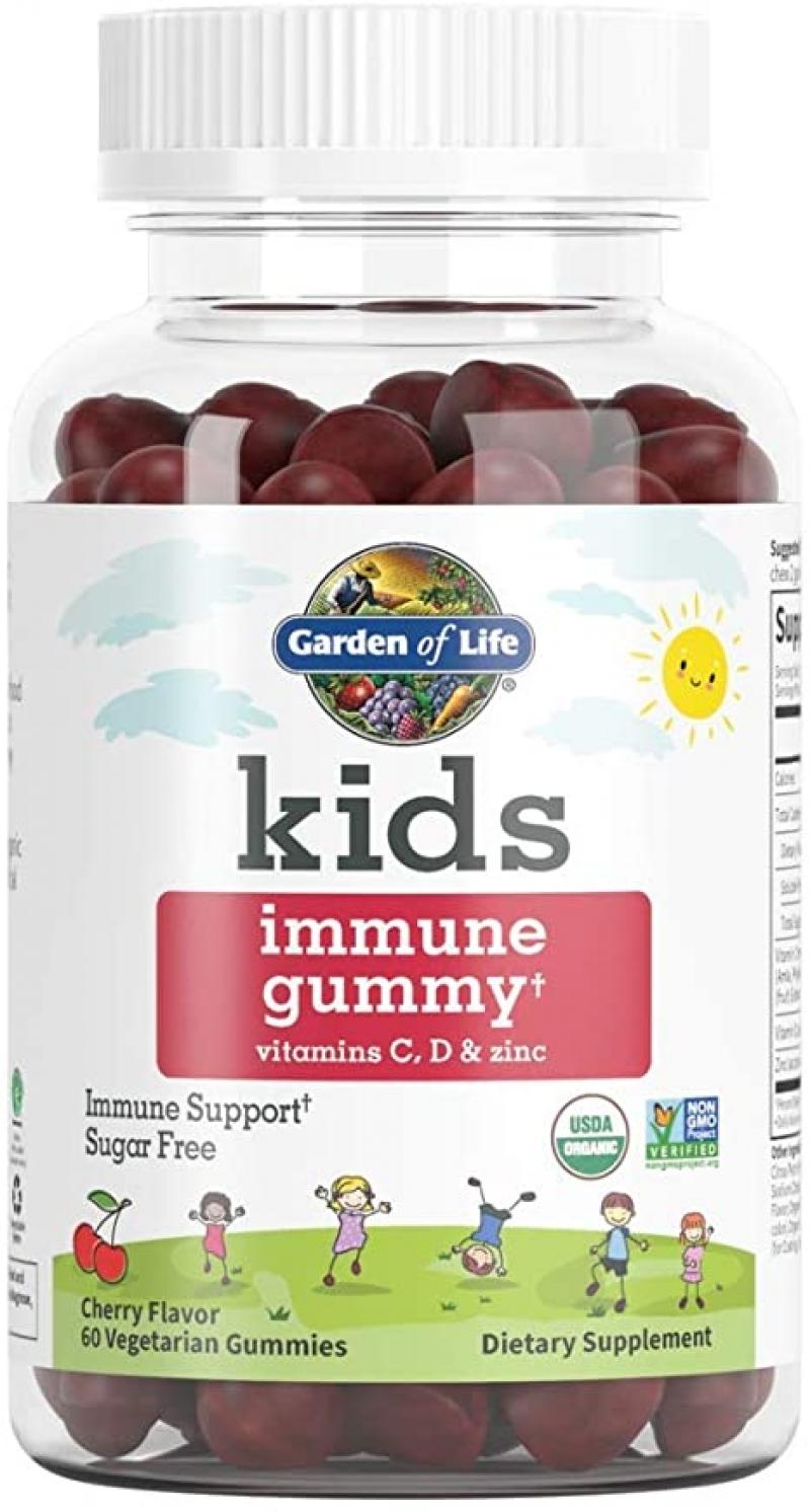 ihocon: Garden of Life Organic Immune Gummies for Kids, Cherry Flavor, 60 Vegetarian Gummies 兒童有機免疫增強軟糖