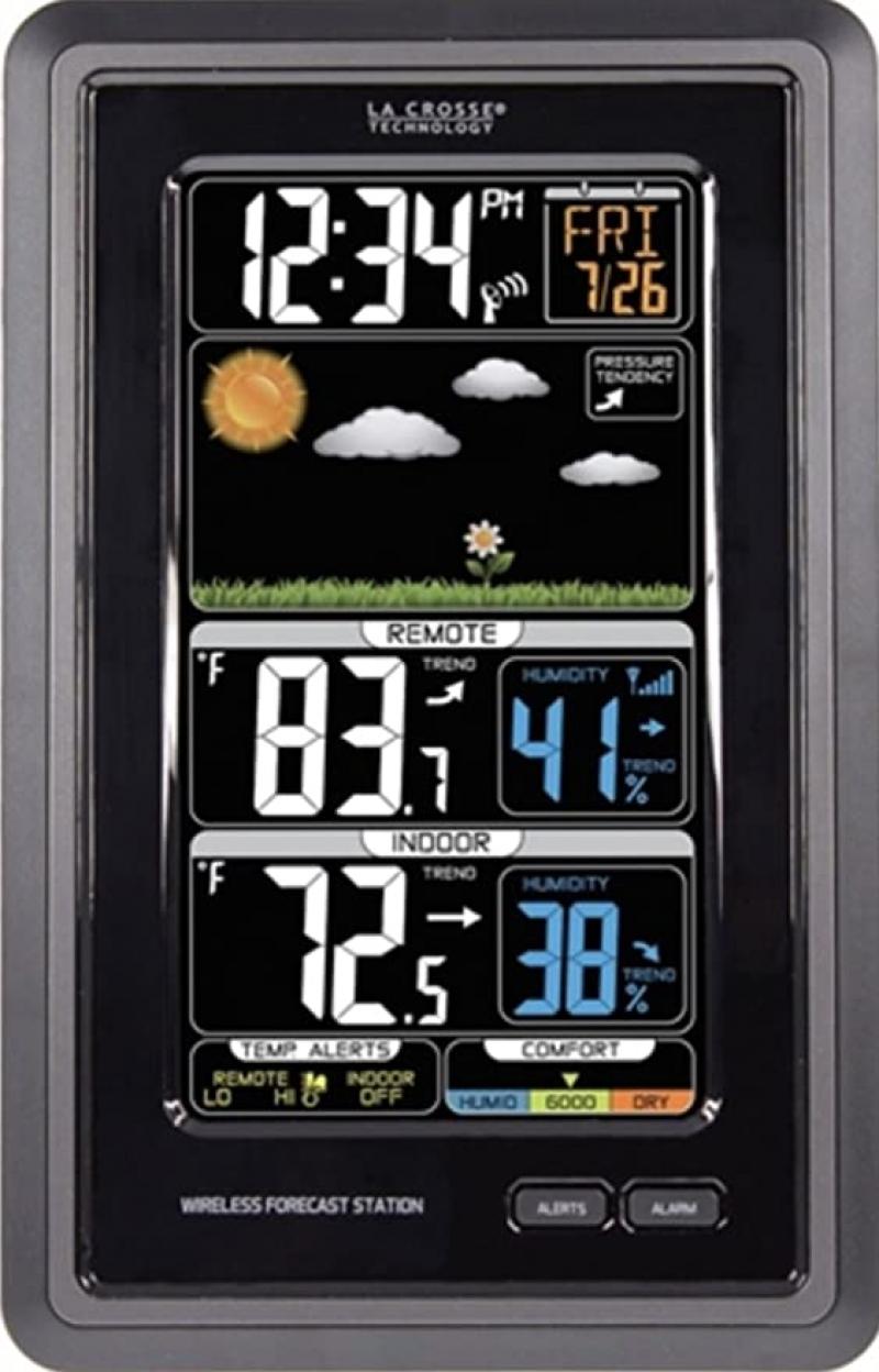 ihocon: La Crosse Technology S88907 Vertical Wireless Color Forecast Station with Temperature Alerts 氣象預報顯示器