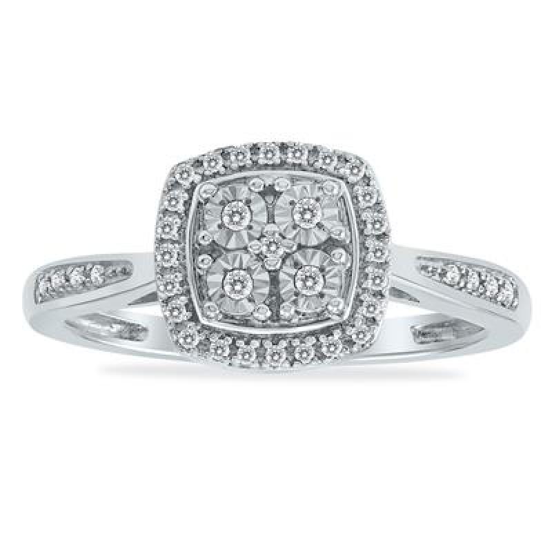 ihocon: 1/10 Carat TW Diamond Halo Ring in .925 Sterling Silver 0.925 純銀 1/10 克拉鑽戒