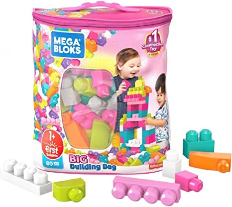 ihocon: Mega Bloks First Builders Big Building Bag with Big Building Blocks, Building Toys for Toddlers (80 Pieces) 幼兒大積木