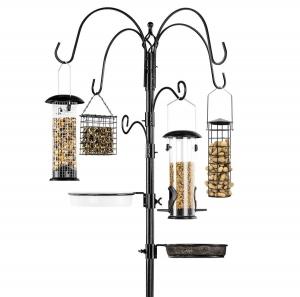 ihocon: Best Choice Products  Bird Feeding Station, 6-Hook Steel Multi-Feeder Stand w/ 4 Feeders 餵鳥架, 含4個餵鳥器