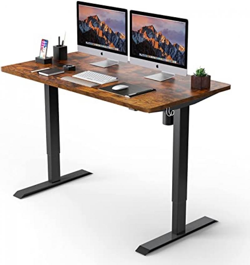 ihocon: TTKK 48 x 24 Inches Electric Standing Desk with Quick Assembly, Ultra-Quiet Motor (Brown Top + Black Frame)  電動升降站立式辦公桌