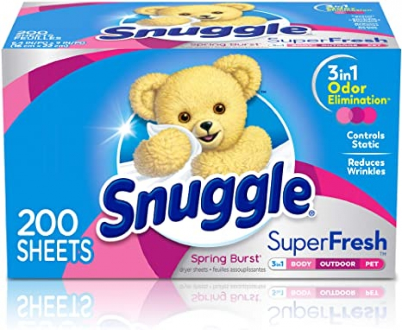 ihocon: Snuggle Plus SuperFresh Fabric Softener Dryer Sheets with Static Control and Odor Eliminating Technology, 200 Count 衣物柔軟烘衣紙