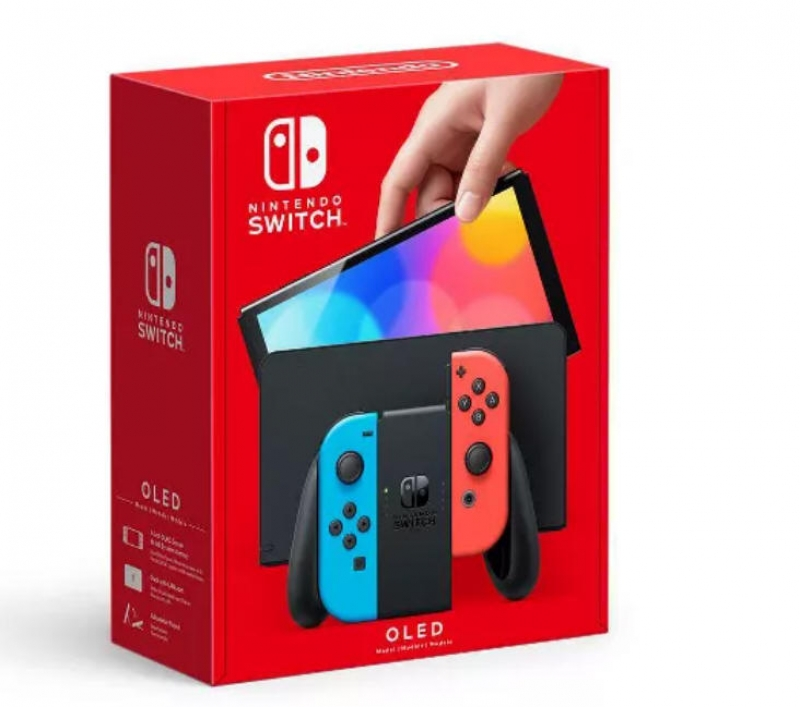 ihocon: Nintendo Switch OLED with Blue and Red Joy-Con