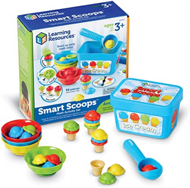 ihocon: Learning Resources Smart Scoops Math Activity Set, Stacking, Sorting, Early Math Skills, 55 Pieces 幼兒數學學習玩具