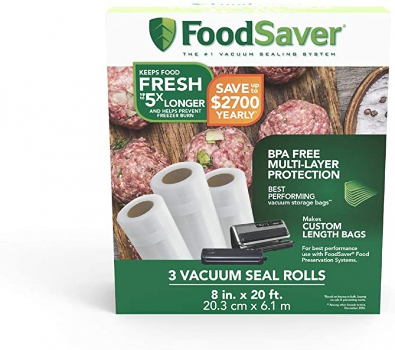 ihocon: FoodSaver 8 x 20' Vacuum Seal Roll with BPA-Free Multilayer Construction for Food Preservation, 3-Pack 真空袋 3捲