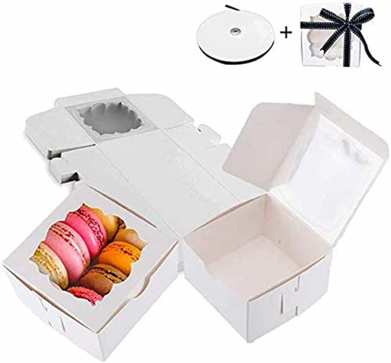 ihocon: Thalia 60 Pack Bakery Boxes with Window 4x4x2.5 inches 點心禮盒 60個