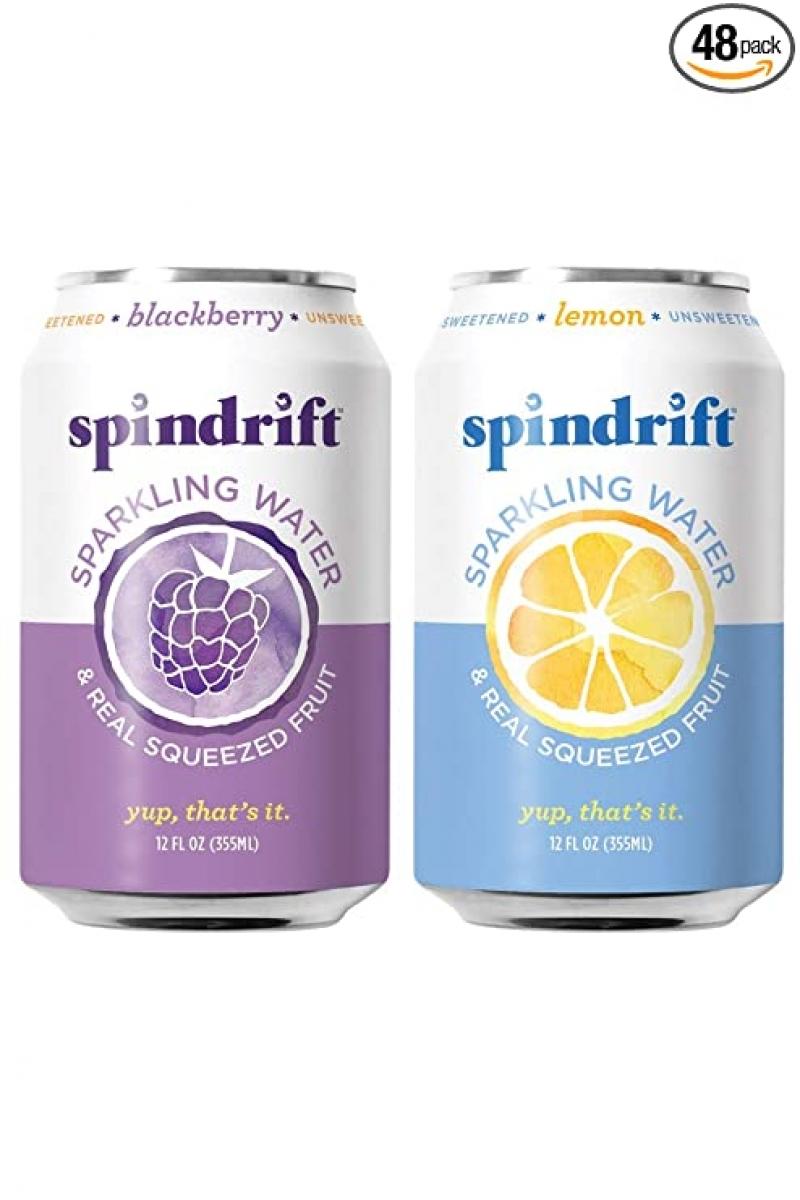 ihocon: Spindrift Sparkling Water, Blackberry & Lemon, 12 Fl Oz Cans, Pack of 48 水果氣泡水