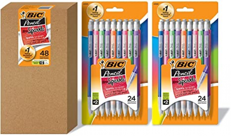 ihocon: BIC Xtra Sparkle Mechanical Pencil, Colorful Barrel, Medium Point (0.7 mm), 48-Count    自動鉛筆