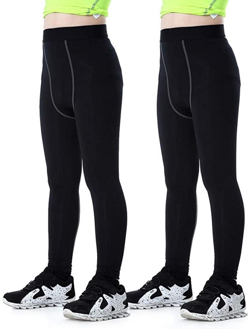 ihocon: Tesuwel 2 Pack Boys Girls Compression Leggings 緊身褲 2條
