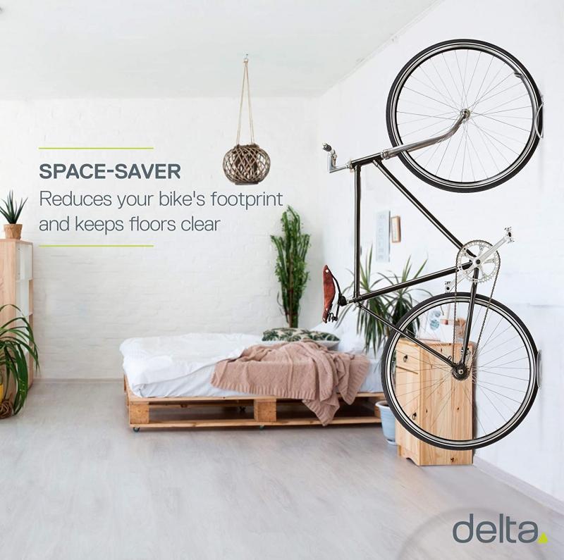 ihocon: Delta Cycle Leonardo Da Vinci Single Bike Storage Rack Hook Hanger with Tire Tray for Vertical Indoor Garage 自行車吊掛架